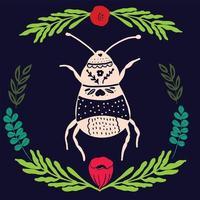 insecte art populaire avec ornement élément floral style scandinave vecteur
