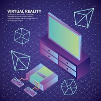 console de réalité virtuelle contrôle les chiffres 3d de la télévision vecteur