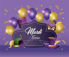 événement de mardi gras avec ballons et décorations vecteur
