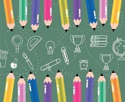 crayons colorés avec rapporteur, livres et fournitures vecteur
