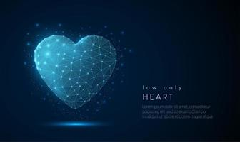 Icône de coeur abstrait. Design de style low poly.