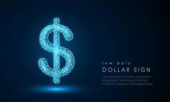 Signe dollar abstrait. Design de style low poly.