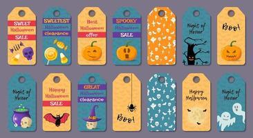 Ensemble d'étiquettes d'halloween de dessin animé vecteur