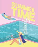 heure d'été au bord de la piscine vecteur