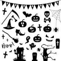 Jeu d'icônes de silhouette Halloween. vecteur