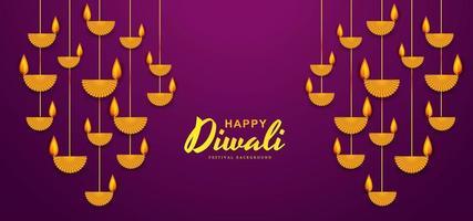 illustration de la gravure de diya sur fond de joyeuses fêtes de Diwali