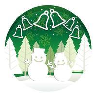 Illustration ronde de Noël avec forêt et bonhommes de neige