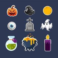 Ensemble d'icônes d'Halloween vecteur