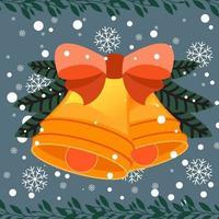 Cartoon Christmas background avec des cloches vecteur
