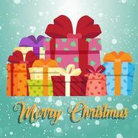 Fond de Noël avec des coffrets cadeaux vecteur