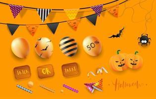 Éléments de fête d'Halloween heureux vecteur