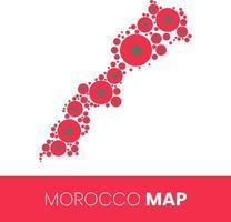 Carte du Maroc remplie de cercles en forme de drapeau vecteur