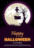 Affiche fête Halloween avec arbre, hibou et lune vecteur