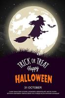 Affiche de fête d'Halloween avec une sorcière chevauchant un balai vecteur