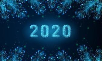 Résumé de carte de voeux de bonne année 2020 avec des branches de sapin.