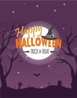 Affiche fête Halloween avec lune et chauves-souris au cimetière vecteur