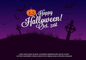 Affiche fête de Halloween avec cimetière, chauves-souris et Jack-O-Lantern