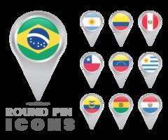 Icônes d'épingles rondes de drapeaux de l'Amérique du Sud vecteur