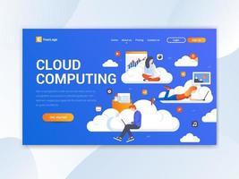 Page de destination du Cloud Computing vecteur