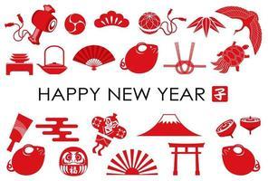 Modèle de carte de voeux de nouvel an avec l'icône de l'année du rat et une variété de porte-bonheur japonais. vecteur