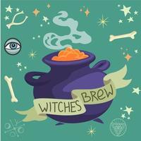 sorcières brasser dans un chaudron vecteur