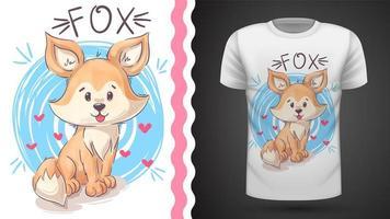 T-shirt mignon de renard - idée pour imprimer vecteur