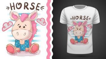 Teddy horse - idée d'un t-shirt imprimé vecteur