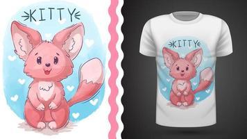 Chat, minou, renard - idée d'un t-shirt imprimé vecteur