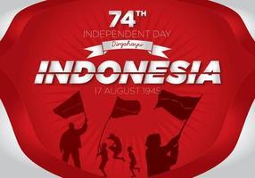 74ème image du jour de l'indépendance de l'Indonésie avec des silhouettes de personnes et de drapeaux