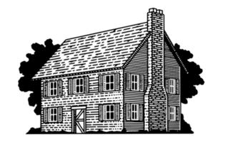 Maison coloniale gravée vecteur