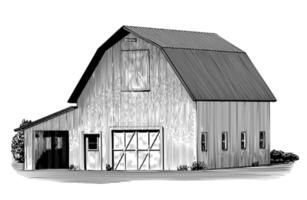 Etable à vaches gravée vecteur