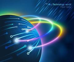 Monde de la technologie de la fibre optique vecteur