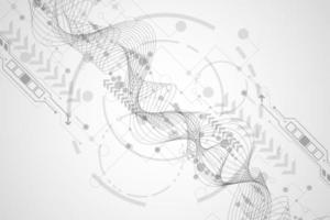 Forme abstraite de lignes ondulées de technologie vecteur