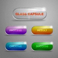 Boutons de capsule de verre vecteur