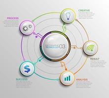 Infographie circulaire avec des icônes de technologie d'entreprise vecteur