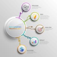 boutons de technologie infographique avec des icônes vecteur