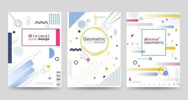 Couverture design minimaliste sertie de formes géométriques vecteur