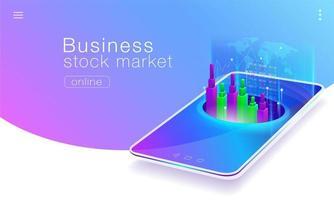 Conception de pages commerciales pour le marché boursier mondial vecteur