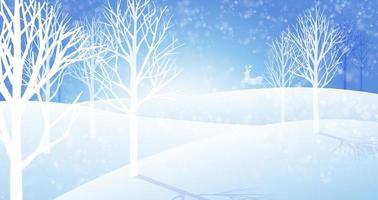 Paysage d'hiver avec des chutes de neige et des cerfs