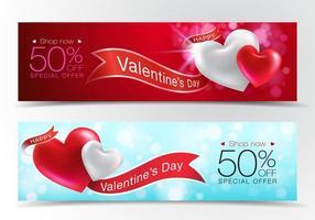 bannières de vente Saint Valentin vecteur
