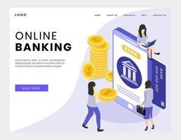 Banque en ligne isométrique vecteur