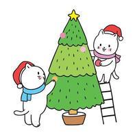Noël mignon de bande dessinée, vecteur de sapin de Noël de cadre de chats.