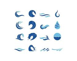 Jeu de logo vague d'eau vecteur