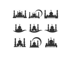 Mosquée silhouette icon set
