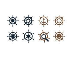 Jeu d'icônes de roue de navire vecteur