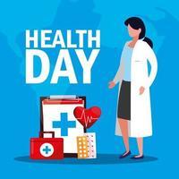 carte de journée mondiale de la santé avec médecin et icônes