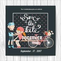 Invitation de mariage avec un couple de cyclistes vecteur