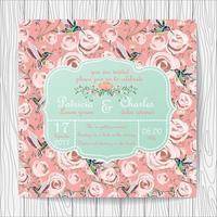 Carte d'invitation de mariage avec des fleurs roses roses et des colibris