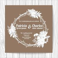 Style de doodle carte invitation de mariage avec couronne de fleurs