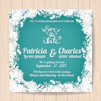 Carte d'invitation de mariage avec cadre de fleur blanche